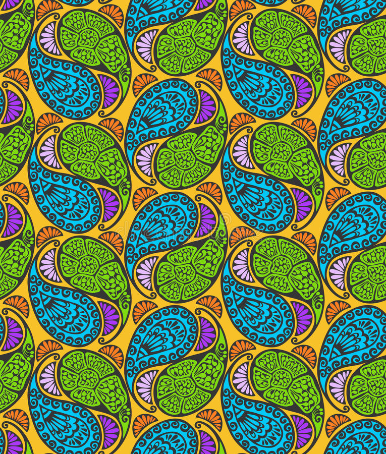 Paisley sans joint et configuration florale illustration de vecteur