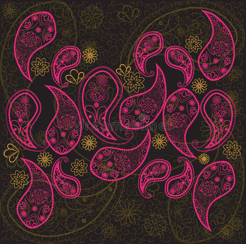 Paisley se ennegrece, pica, fondo anaranjado del papel pintado Garabato, bosquejo, flores libre illustration