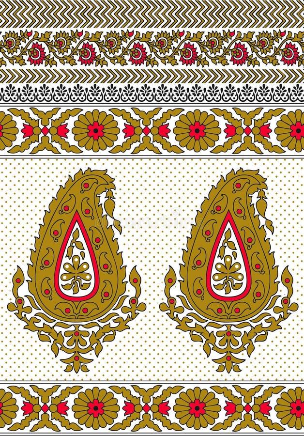 Paisley Seamless Floral Colour Design Pattern Border Stock Vector ...