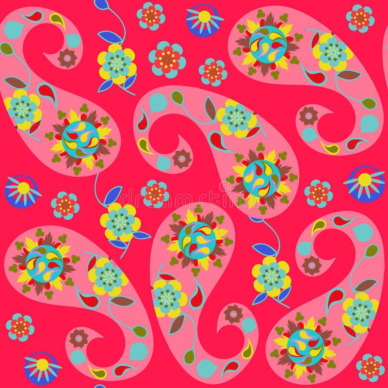 Paisley seamless pattern with cute abstract Paisley and flowers vector illustration