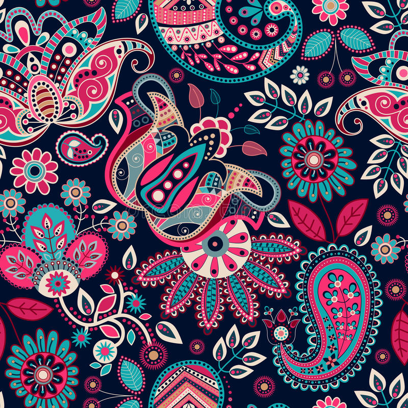 Paisley seamless pattern stock illustration