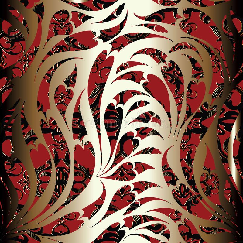 Paisley seamless pattern. Floral red black ornamental background royalty free illustration