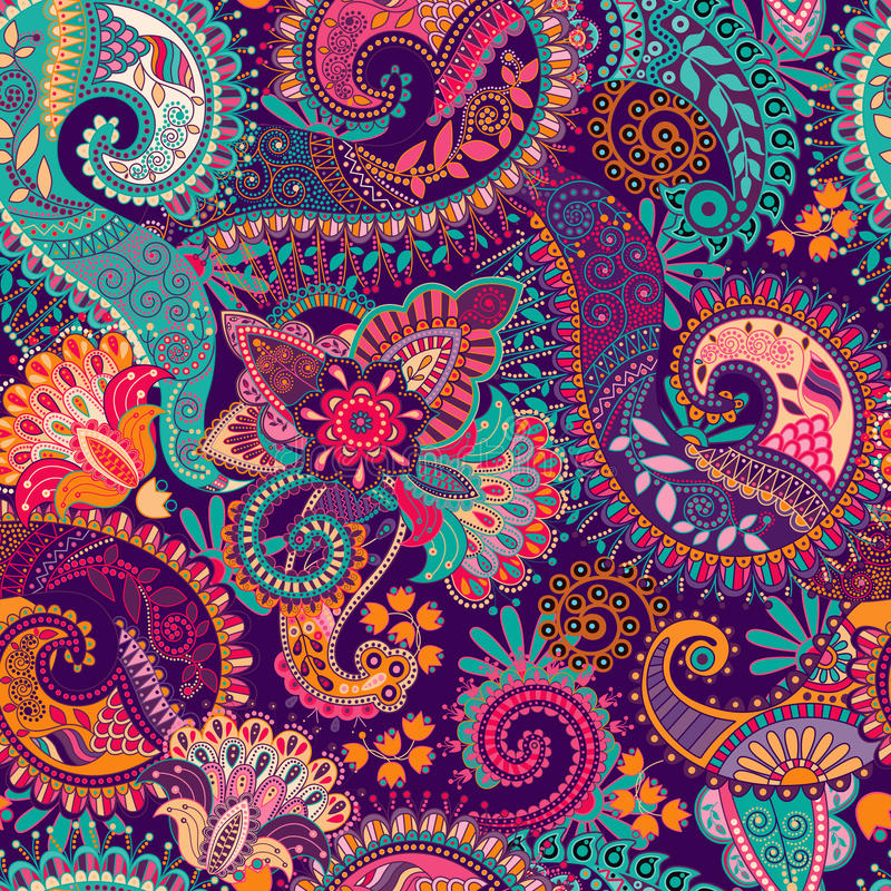 Paisley seamless pattern vector illustration