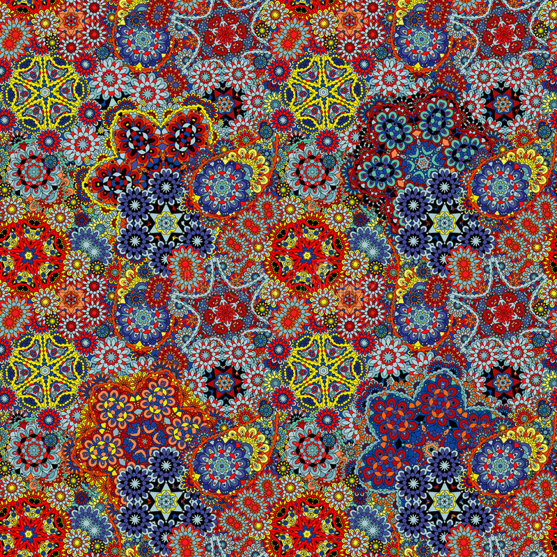 Paisley seamless pattern. Vintage red brown blue background in batik style royalty free stock photos