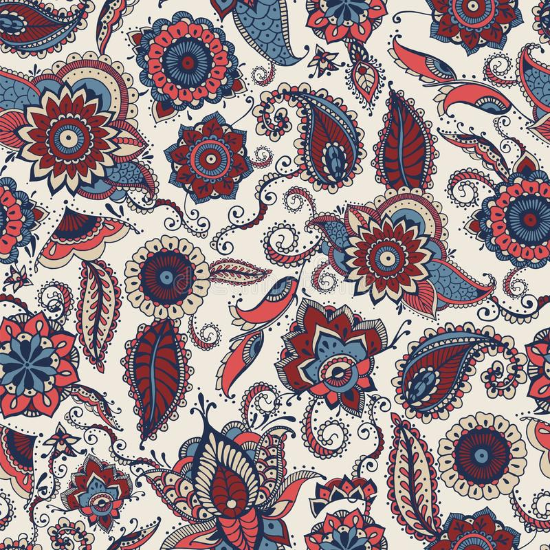 Free Paisley Seamless Pattern With Motley Ethnic Indian Or Turkish Motifs On White Background. Backdrop With Floral Mehndi Stock Photo - 112112210