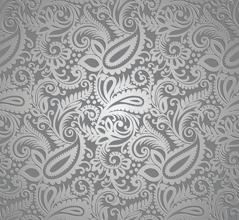 Paisley silver wallpaper stock illustration