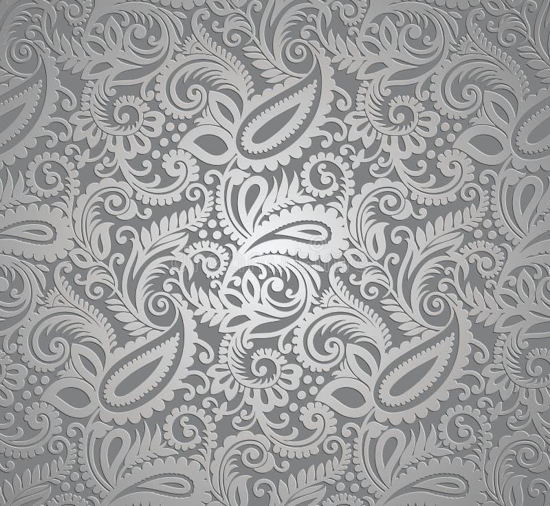 Paisley srebra tapeta ilustracji