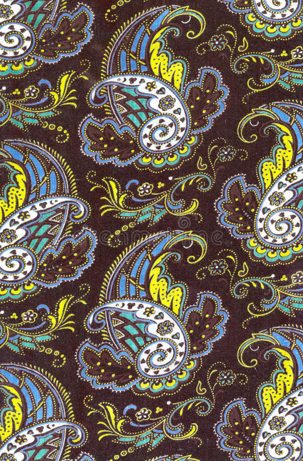 Paisley Texture. Close-up of fabric with colored paisley pattern royalty free stock image