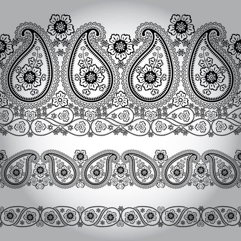 Paisley tkaniny granicy bezszwowa koronka. Orientalny motyw ilustracji
