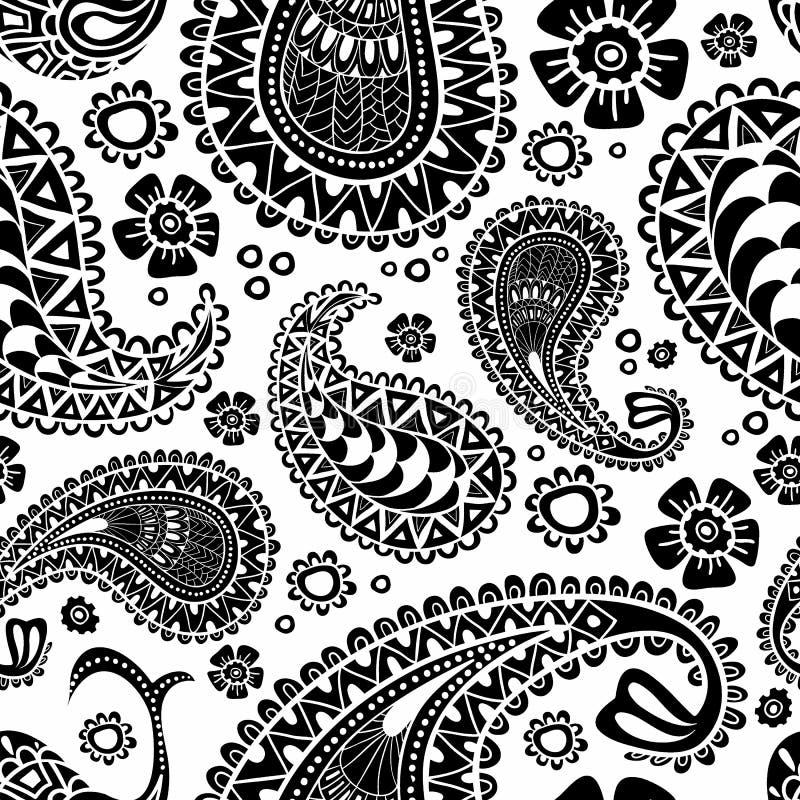 Paisley, turecki ogórek Czarny i biały pociągany ręcznie wzór V ilustracji