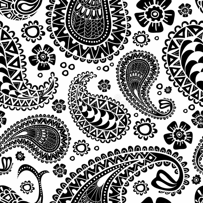 Paisley, Turkse komkommer Zwart-wit hand-drawn patroon V stock illustratie