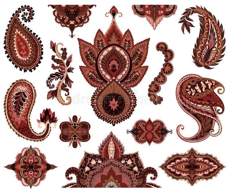 Paisley uppsättning Orientaliska dekorativa designbeståndsdelar Prydnad för hennamehnditatuering royaltyfri illustrationer