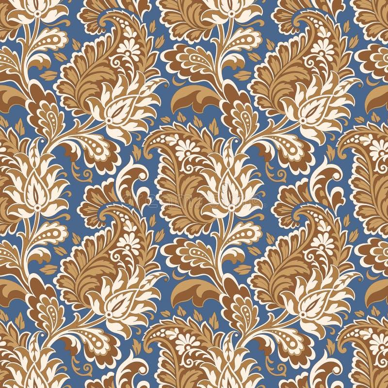 Paisley vector seamless pattern. Fantastic flower, leaves. Textile bohemian print. Batik painting. Vintage royalty free illustration