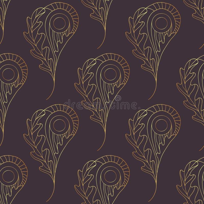Paisley wektorowy bezszwowy wzór Złocisty abstrakcjonistyczny dąb opuszcza tło Wręcza patroszoną liść teksturę dla tapety, zawija ilustracja wektor