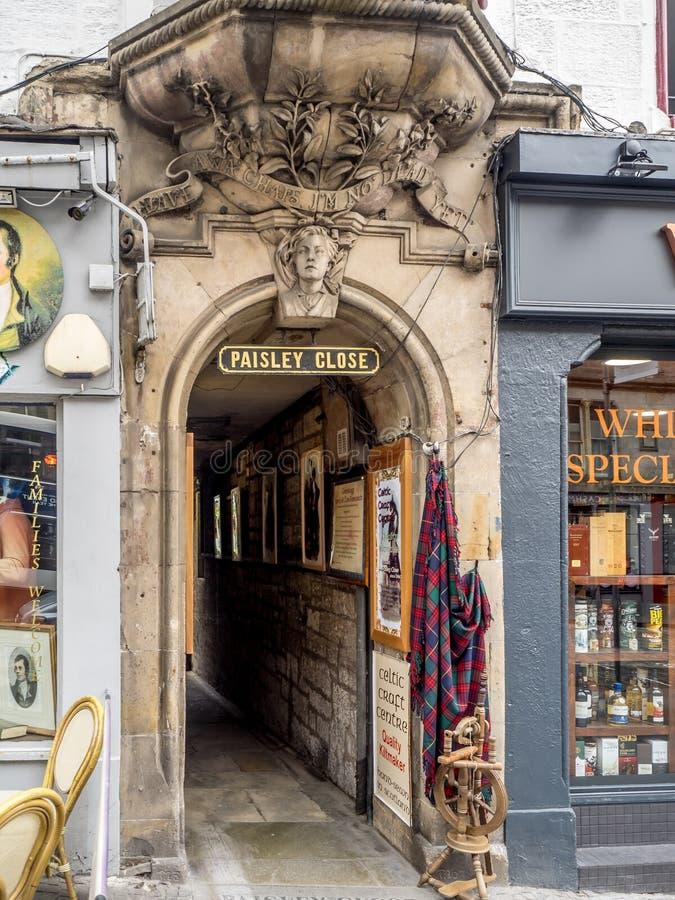 Paisley zakończenie, Królewska mila, Edynburg Szkocja zdjęcia royalty free