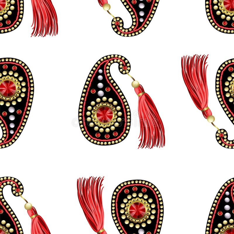 Paisleys bessert nahtloses Muster mit Pailletten, Perlen und Franse aus vektor abbildung