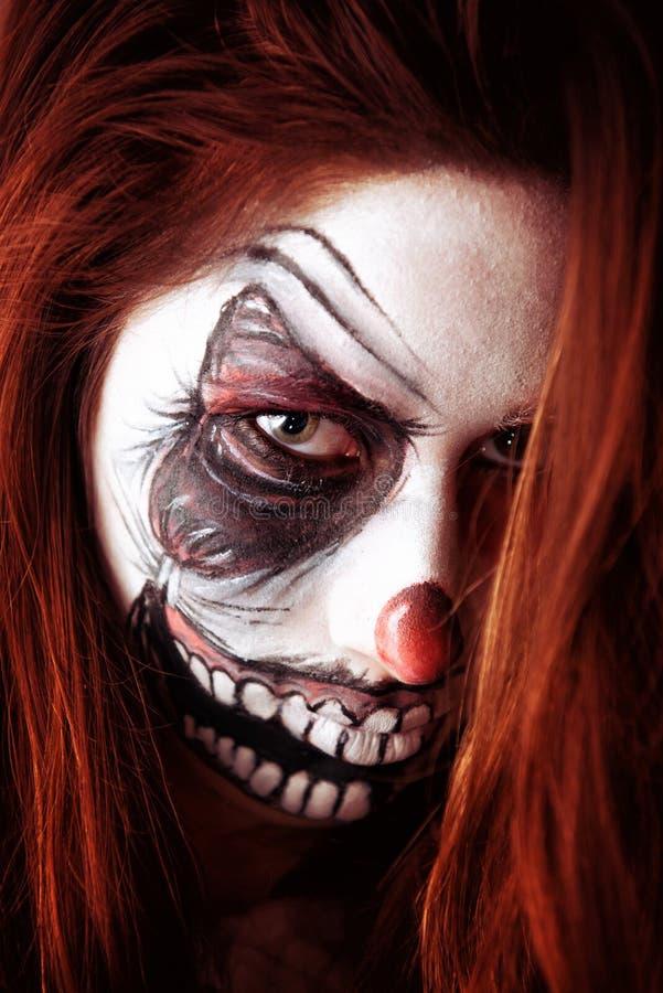 paiting小丑的面孔 免版税图库摄影