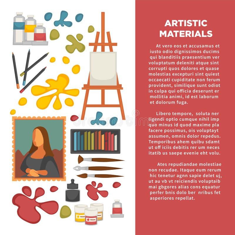 Paiting υλικά καλλιτεχνών και δημιουργική αφίσα εικονιδίων εργαλείων σχεδίων εικόνων τέχνης διανυσματική διανυσματική απεικόνιση