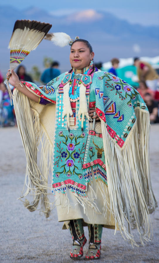 Paiute Tribe Pow Wow. LAS VEGAS - MAY 24 : Native American woman takes part at the 25th Annual Paiute Tribe Pow Wow on May 24 , 2014 in Las Vegas Nevada. Pow wow stock photos