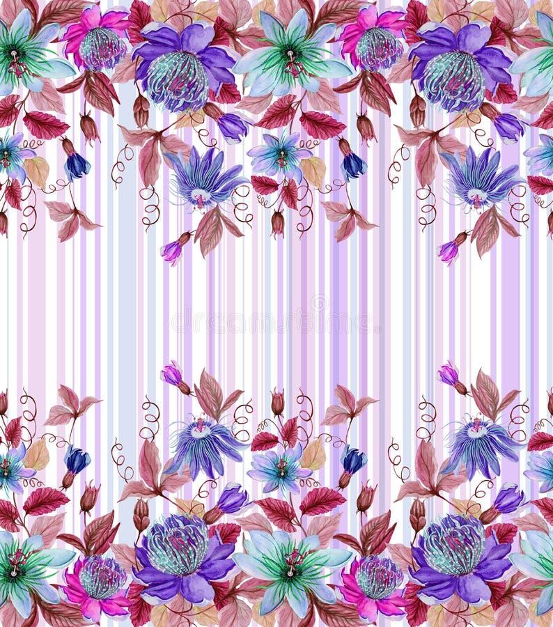 A paixão bonita floresce o passiflora com as folhas verdes em fundo listrado Teste padrão floral sem emenda Pintura da aguarela ilustração royalty free