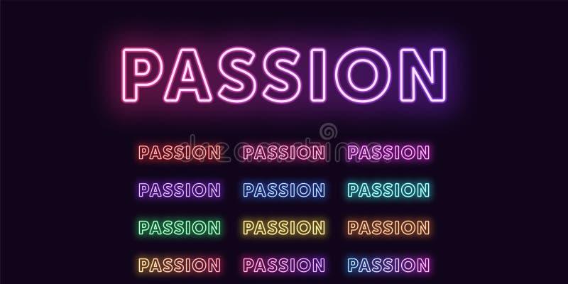 Paixão de néon do texto, título expressivo, paixão da palavra ilustração stock