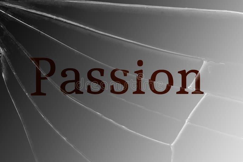 A paixão do texto no vidro quebrado O conceito da perda de desejo, paixão ilustração stock