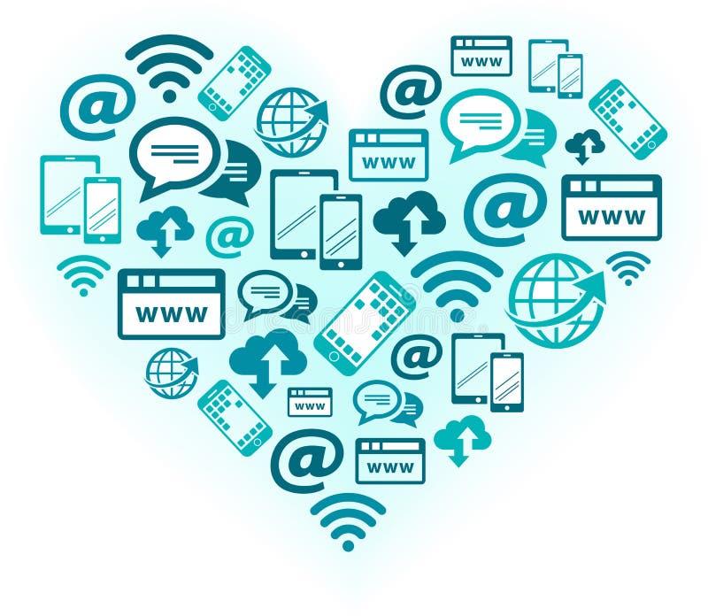 Paixão para uma comunicação móvel e a digitalização - ilustração ilustração do vetor