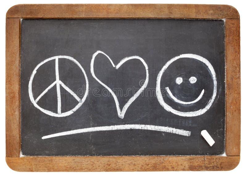 Paix, amour et bonheur photographie stock libre de droits