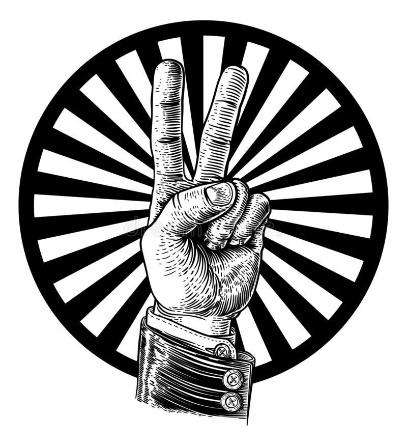 Paix Victory Hand Sign illustration stock