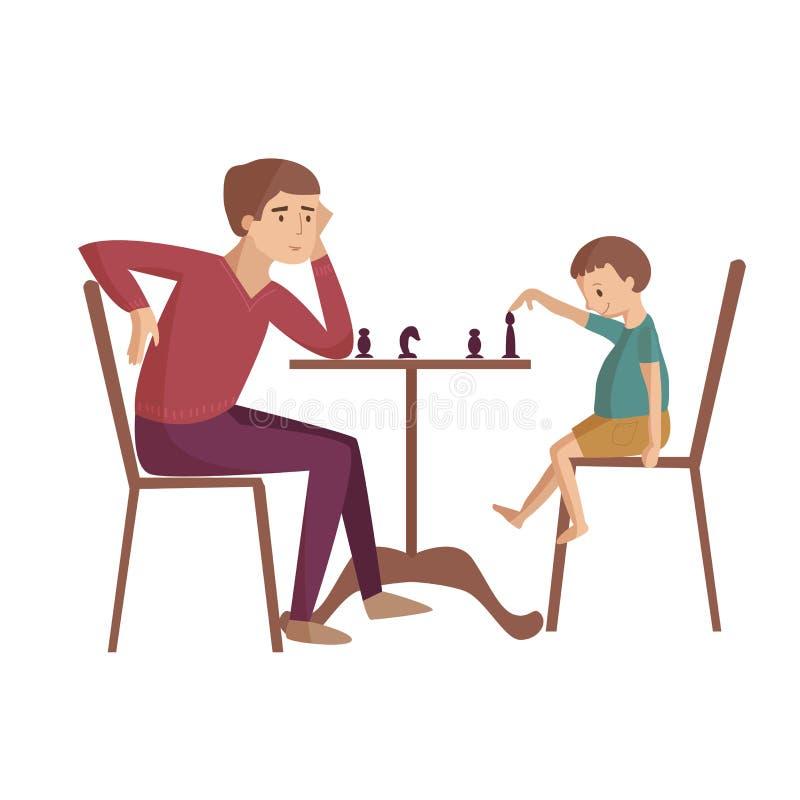 Paizinho com ilustração dos desenhos animados do filho ilustração stock