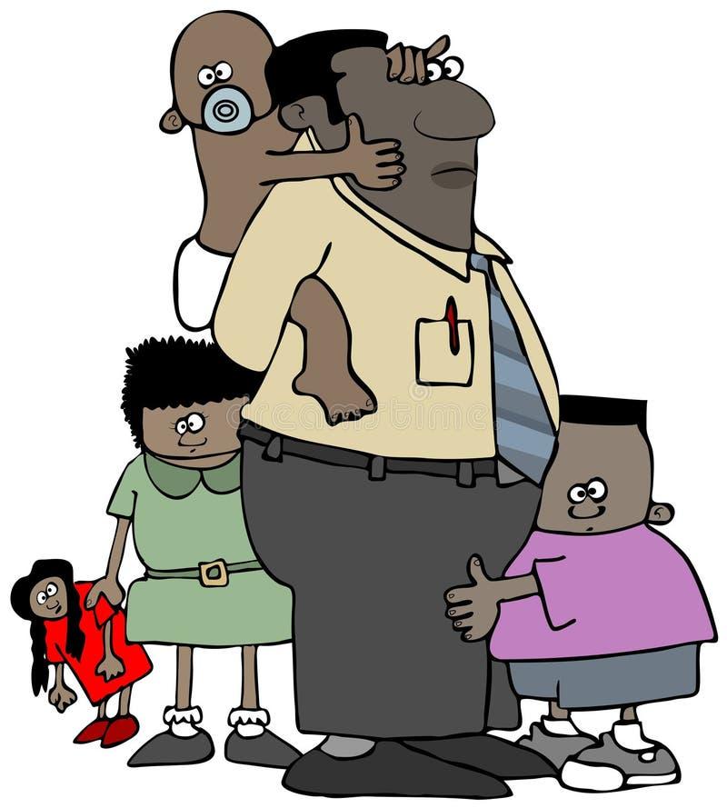 Paizinho do dia de pais com suas crianças ilustração stock
