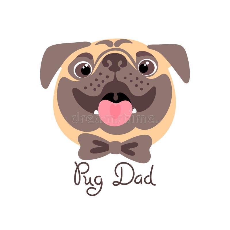 Paizinho do Pug Imagem do cão feliz do pai ilustração royalty free