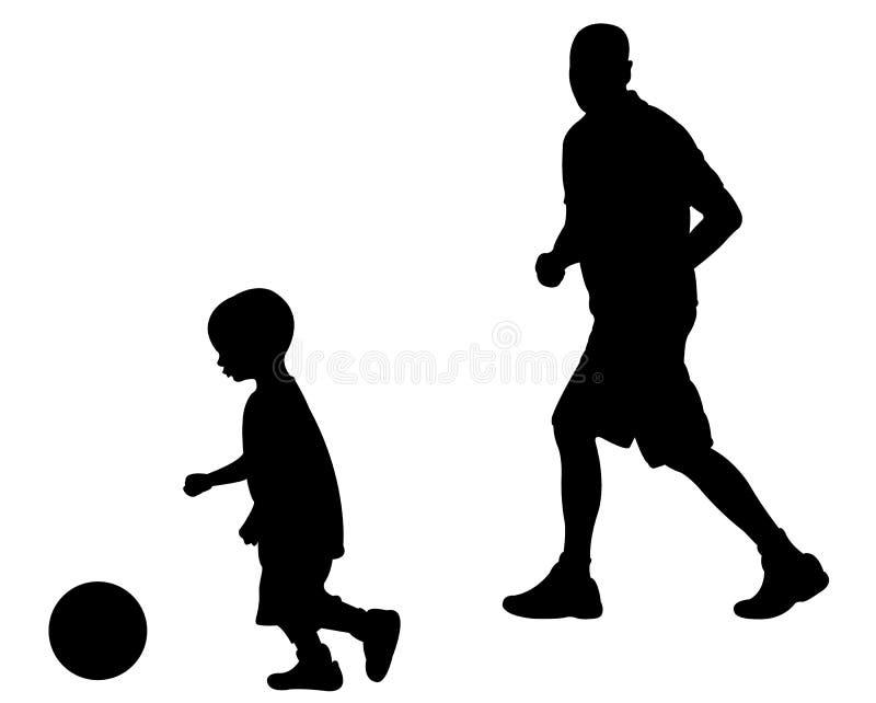 Paizinho e filho que jogam o futebol ilustração stock