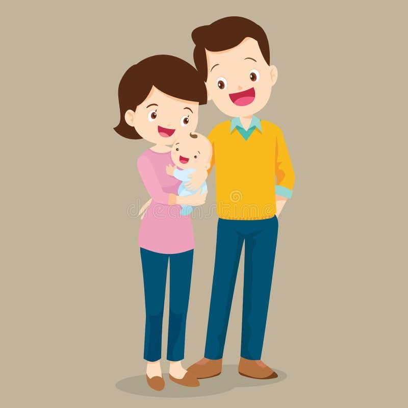 Paizinho e mamã com bebê bonito ilustração do vetor