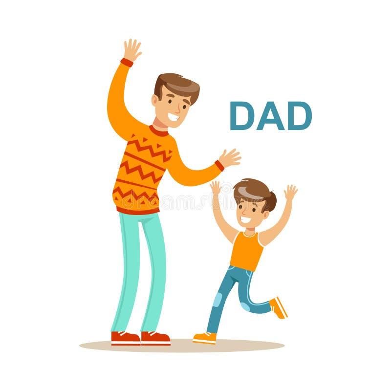 Paizinho que joga com seu filho, família feliz que tem a boa ilustração do tempo junto ilustração do vetor