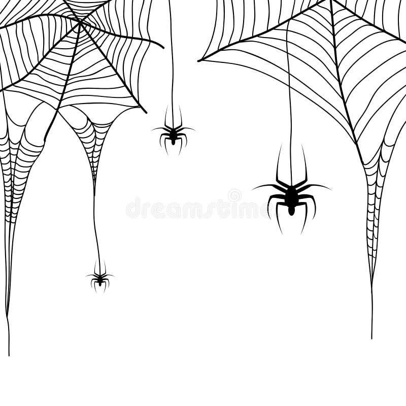 Pająków pająki na białym tle i sieć ilustracji
