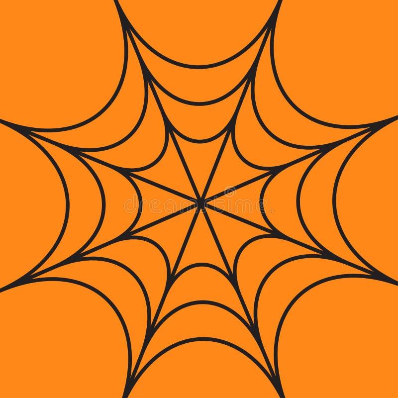 Pająk round sieć Pajęczyny czerń Dekoracja element szczęśliwy karciany Halloween Płaski projekt Pomarańczowy tło ilustracja wektor