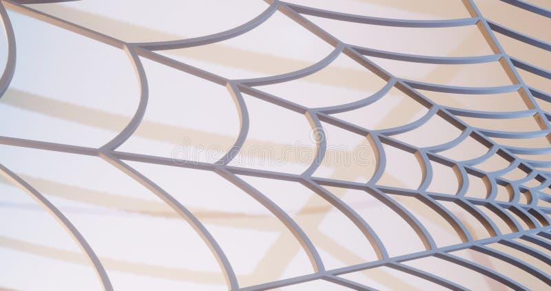 Pająk sieć 3d odpłacająca się na białej scenie z cieniami, pająka symbol royalty ilustracja