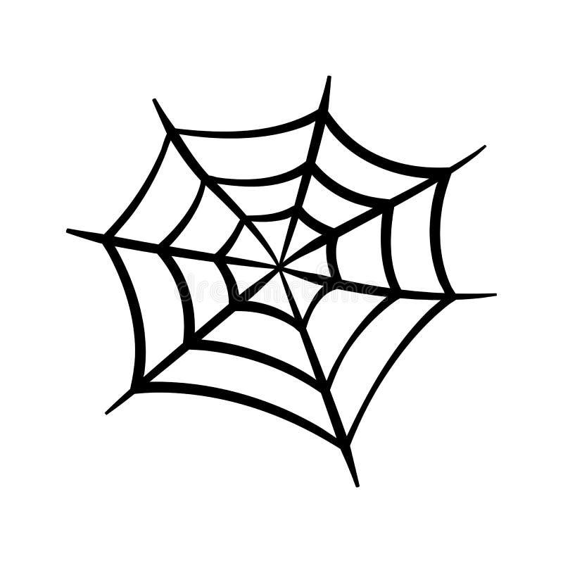 Pająk sieci ikona Pajęczyna wektoru sylwetka Spiderweb klamerki sztuka Płaska wektorowa ilustracja ilustracja wektor
