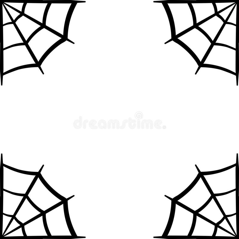 Pająk sieci ikona Pająk sieci rama Pajęczyna wektoru sylwetka Spiderweb klamerki sztuka Płaska wektorowa ilustracja ilustracji