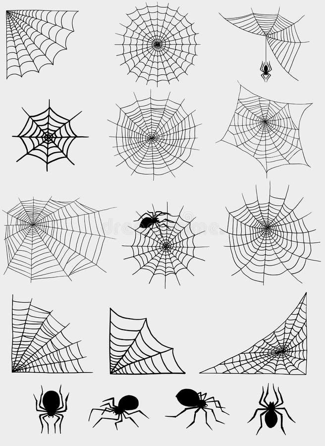 Pająk sieci sieci sylwetki natury Halloween elementu pajęczyny dekoraci wektorowego strasznego strachu niebezpieczeństwa horroru  ilustracji