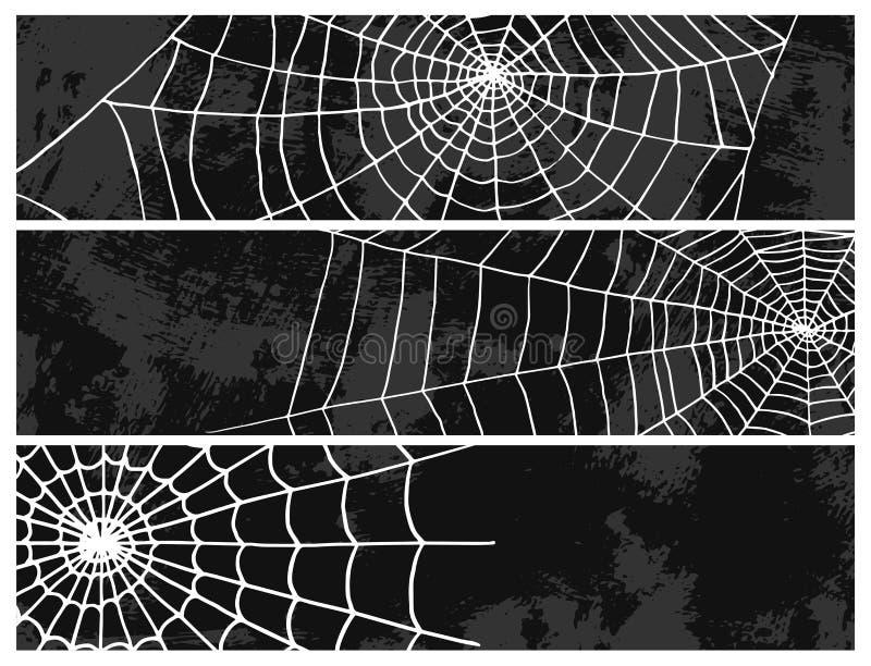 Pająk sieci sylwetki natury Halloween elementu pajęczyny dekoraci wektorowego strasznego strachu straszna sieć Sieć z pająkiem royalty ilustracja