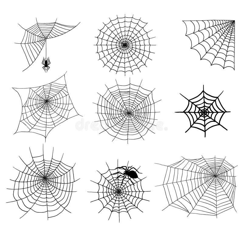 Pająk sieci sylwetki pająka natury Halloween elementu pajęczyny dekoraci wektorowego strasznego strachu straszna sieć ilustracja wektor