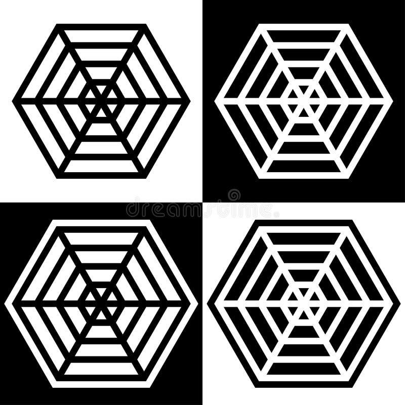 Pająk sieci symboli/lów ikony podpisują loga prostego czarny i biały barwionego set ilustracja wektor