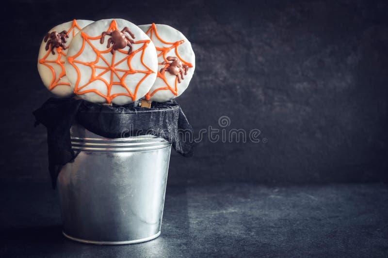 Pająka ciastka lizaki fotografia royalty free