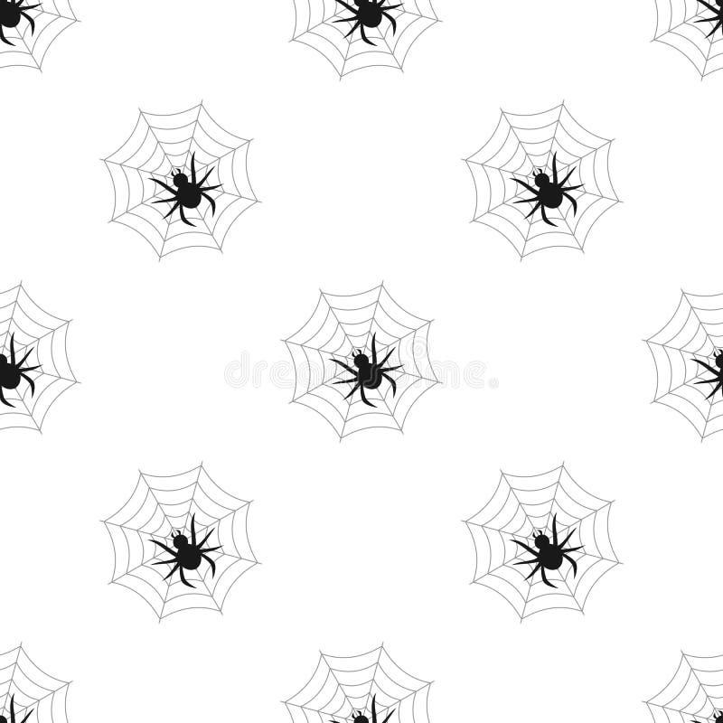 Pająka i sieci Płaskiej ikony Bezszwowy wzór royalty ilustracja