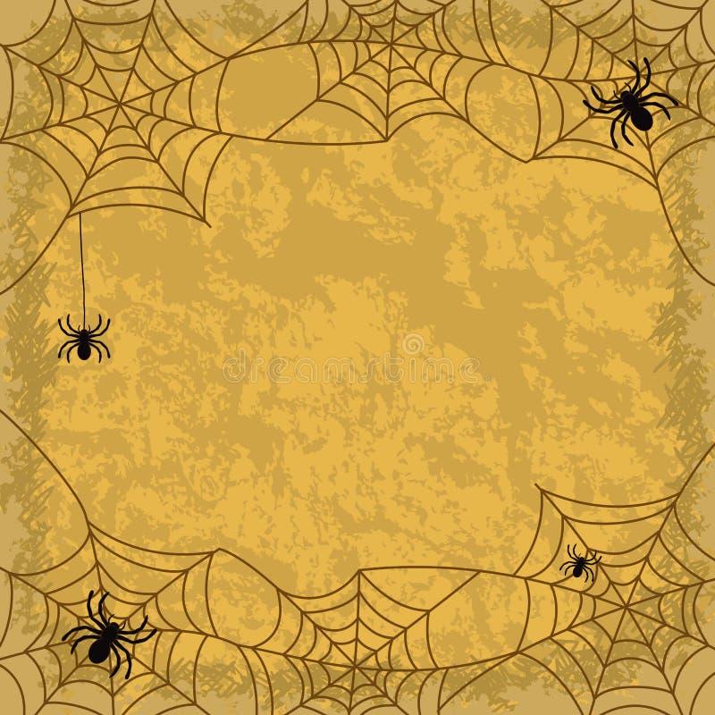 Pająki i pajęczyny na ściennym tle royalty ilustracja