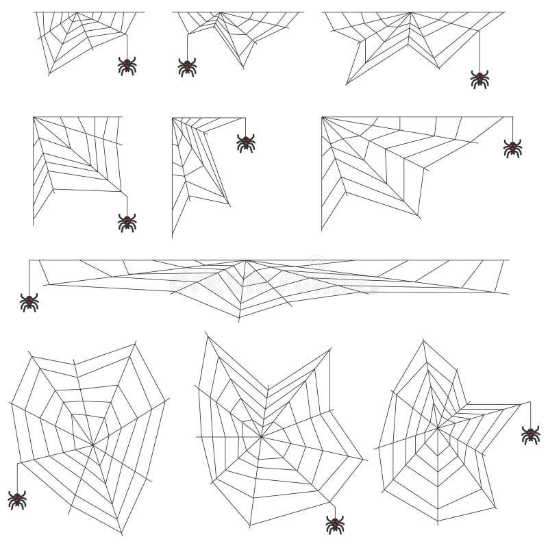 Pajęczyna pająka pajęczyny realistyczne Pająk wyplata pająk sieć ilustracji