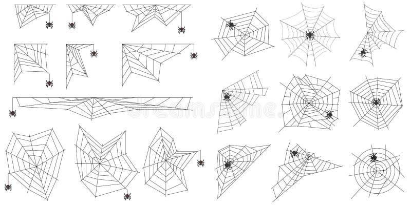 Pajęczyna pająka pajęczyny realistyczne Pająk wyplata pająk sieć ilustracja wektor