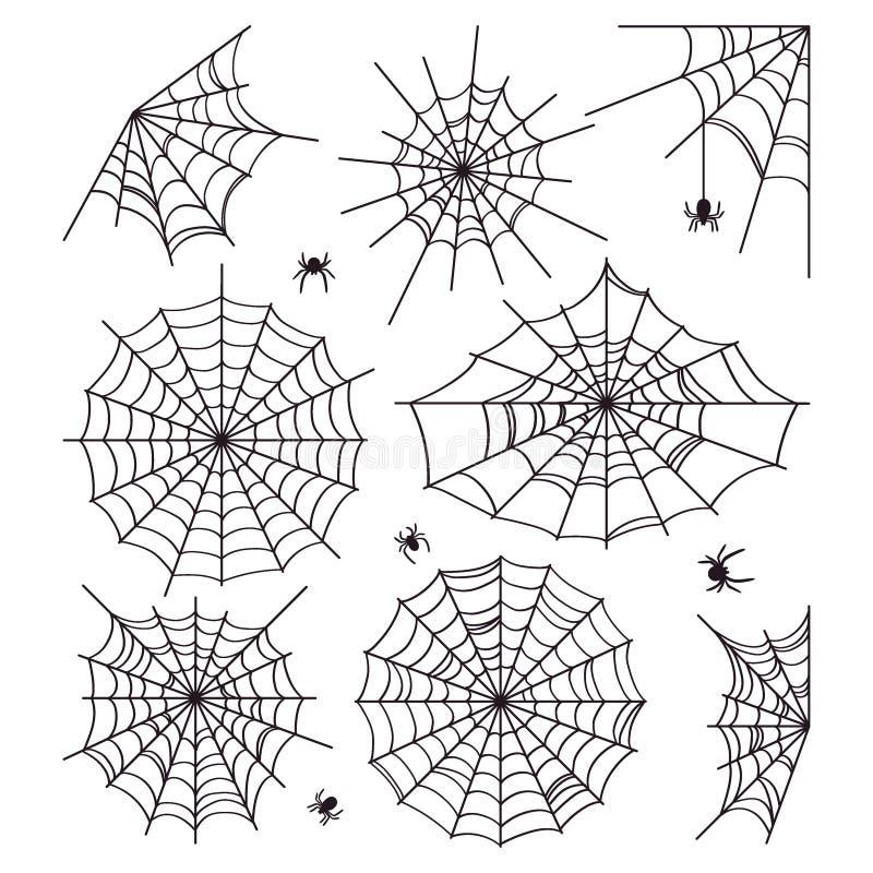 Pajęczyny kolekcja odizolowywająca na białym tle Sceneria dla Halloween Sylwetki paj?ki r?wnie? zwr?ci? corel ilustracji wektora royalty ilustracja